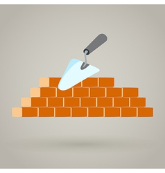 Trowel and brick wall icon building design vector image