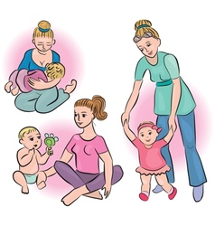 Mothers and babies in their daily lives vector