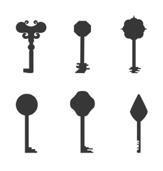 Grey key silhouettes vector