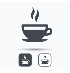 Coffee cup icon hot tea drink sign vector