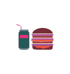 Burger soda icon vector