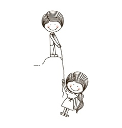 Boy holds girl on cliff with rope vector