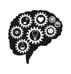 brain gears communication social media vector image