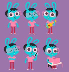 geek bunny girl set vector image