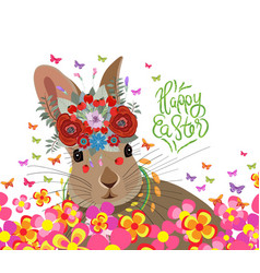 Happy easter with rabbit flower and butterflies vector