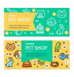 Pet shop flyer banner placard set vector