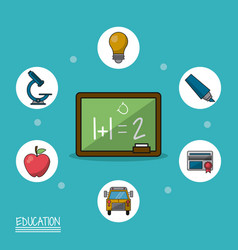 Colorful poster of education with blackboard in vector