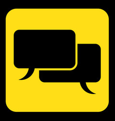 Yellow black sign two speech bubbles icon vector