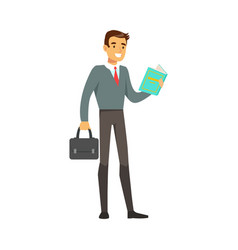 Smiling businessman standing and reading a book vector