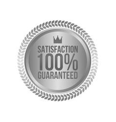 Satisfaction guaranteed silver sign round label vector