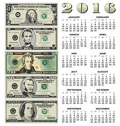 2016 money calendar vector
