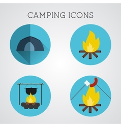 Set of camping symbols and icons flat design on vector