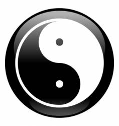 Yin-yang black icon vector