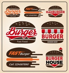 Set of burger shop icon logo design for branding vector