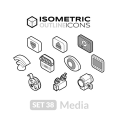 Isometric outline icons set 38 vector image