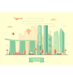 Singapore skyline architecture flat vector