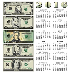 2016 Money Calendar vector image