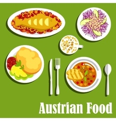 Austrian cuisine dishes and beverages vector