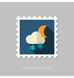 Cloud snow moon flat stamp meteorology weather vector