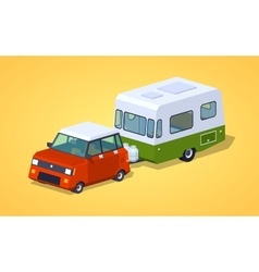 Low poly red hatchback with green-white motor home vector