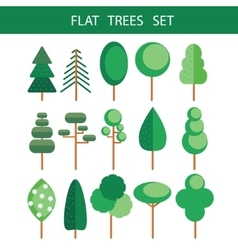 Trees flat icons set vector