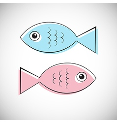 Abstract blue and pink fish isolated on ligh vector