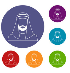 Arabic man in traditional muslim hat icons set vector