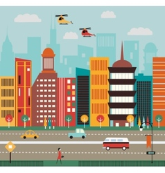 Big city street vector