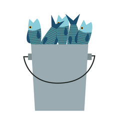 Bucket of fish fresh cooking food vector