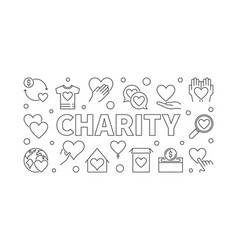 Charity horizontal - outline vector