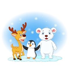 Cute animal cartoon in the snowy background vector image vector image