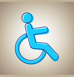 disabled sign sky blue icon vector image vector image