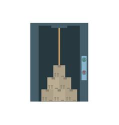 Elevator cardboard boxes design vector