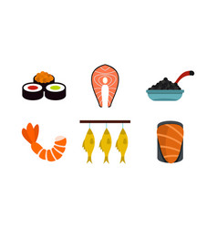 Fish food icon set flat style vector