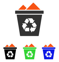 Full recycle bin flat icon vector
