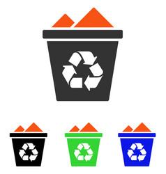 Full recycle bin flat icon vector