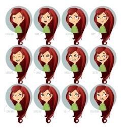 Girls facial expressions vector