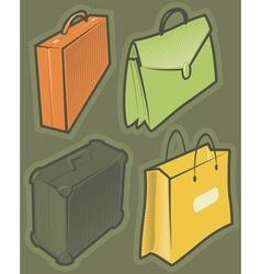 Green icons with bags vector