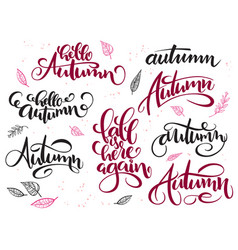 hand lettering hello autumn text set vector image