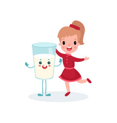 happy girl having fun with smiling humanized glass vector image
