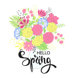 Hello spring hand drawing lettering design vector