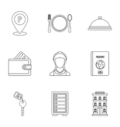Hostel icons set outline style vector