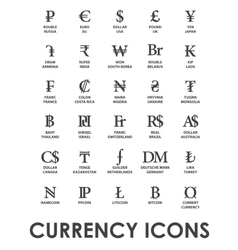 Icons currencies in the world vector
