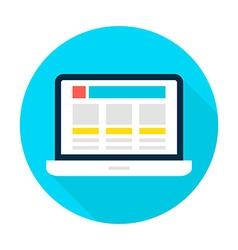 Laptop landing page flat circle icon vector