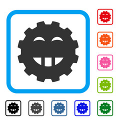 Laugth smiley gear framed icon vector