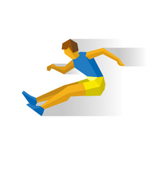 Long jumping athlete isolated on white background vector