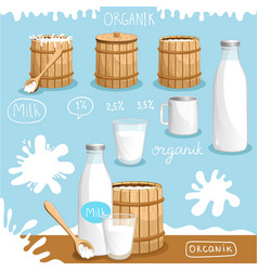 Natural and organic dairy products advertising vector
