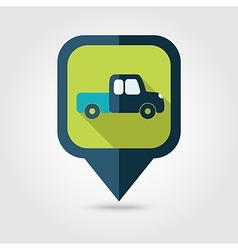 Pickup truck flat pin map icon map pointer vector