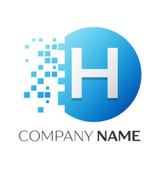 realistic letter h logo in colorful circle vector image