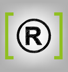 Registered trademark sign black scribble vector